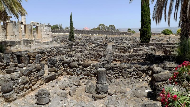 Ruinas de la ciudad antigua Capernaum en Israel foto de archivo libre de regalías