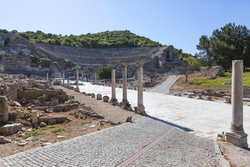 Ruinas de la ciudad antigua de Ephesus en el tiwn de Selcuk, Turquía fotos de archivo
