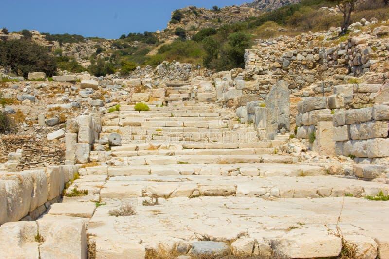 Ruinas de la ciudad antigua de Knidos en Turquía fotografía de archivo libre de regalías