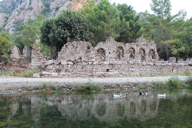 Ruinas de la ciudad antigua Olimpos en Lycia Provincia de Antalya, Turquía fotos de archivo