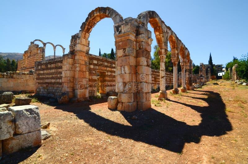 Ruinas de la ciudad de Umayyad de Anjar imagenes de archivo