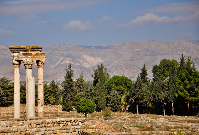 Ruinas de la ciudad de Umayyad en Anjar imagen de archivo libre de regalías