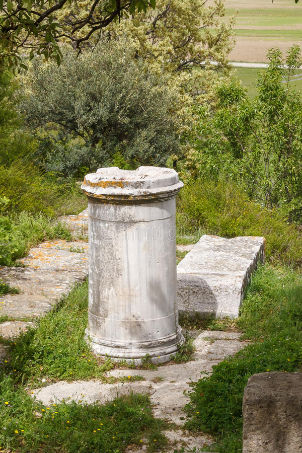Ruinas de la ciudad del griego clásico de Troy imágenes de archivo libres de regalías