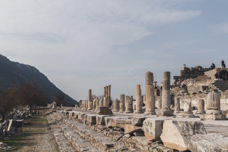Ruinas de la ciudad del griego clásico de Ephesus cerca de Selçuk, Turquía imagen de archivo