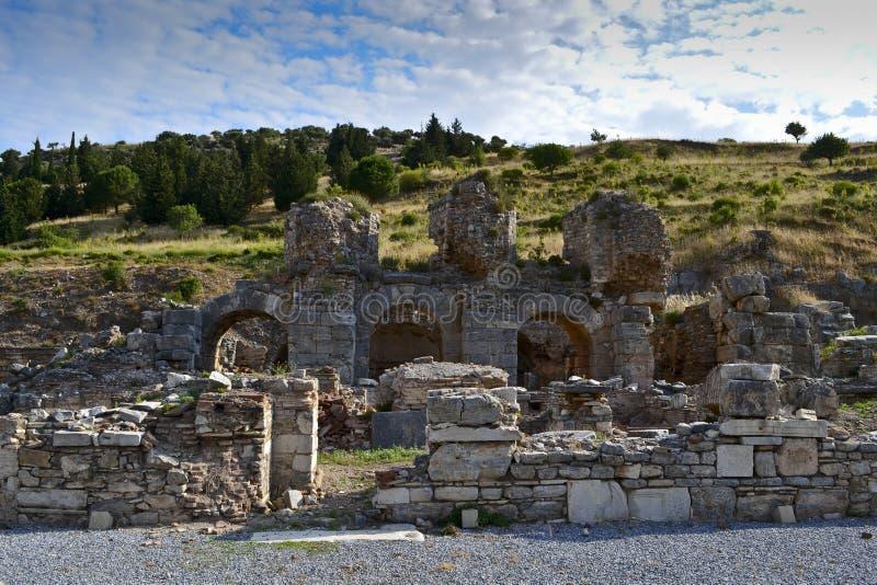 Ruinas de la ciudad Ephesus del griego clásico fotografía de archivo libre de regalías