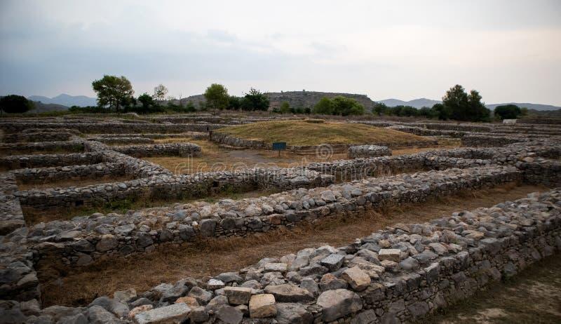 Ruinas de la ciudad de Sirkap, Taxila, Paquistán imágenes de archivo libres de regalías