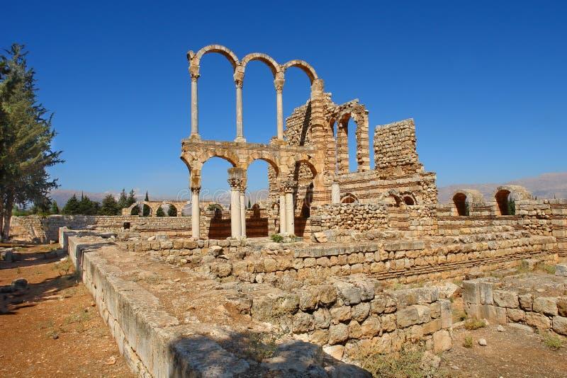 Ruinas de la ciudad de Umayyad de Anjar foto de archivo