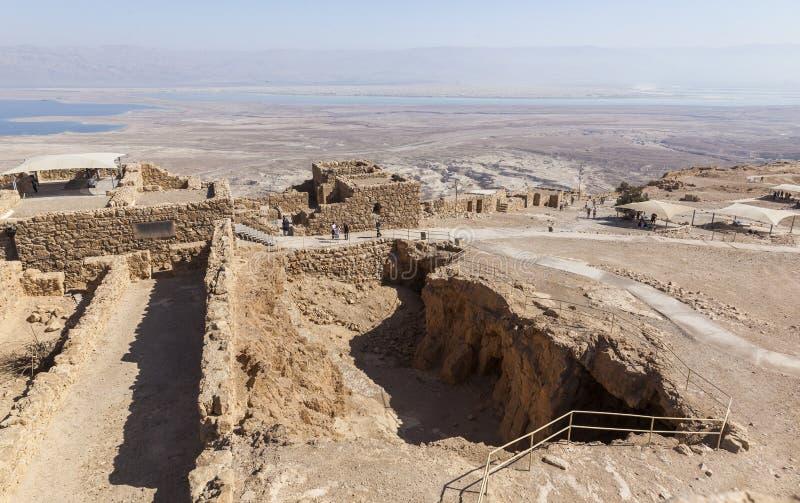 Ruinas de la fortaleza antigua de Masada Israel foto de archivo