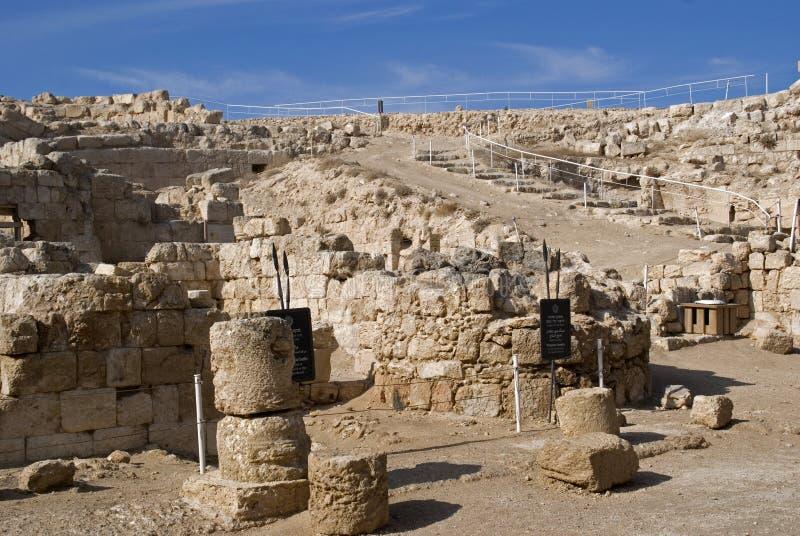 Ruinas de la fortaleza de Herod, el grande, Herodium, Palestina imagenes de archivo