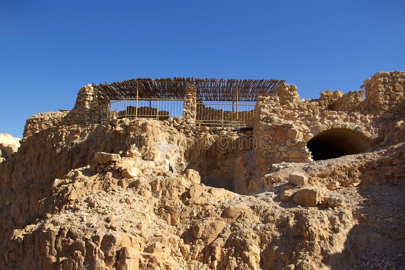 Ruinas de la fortaleza de Masada imágenes de archivo libres de regalías