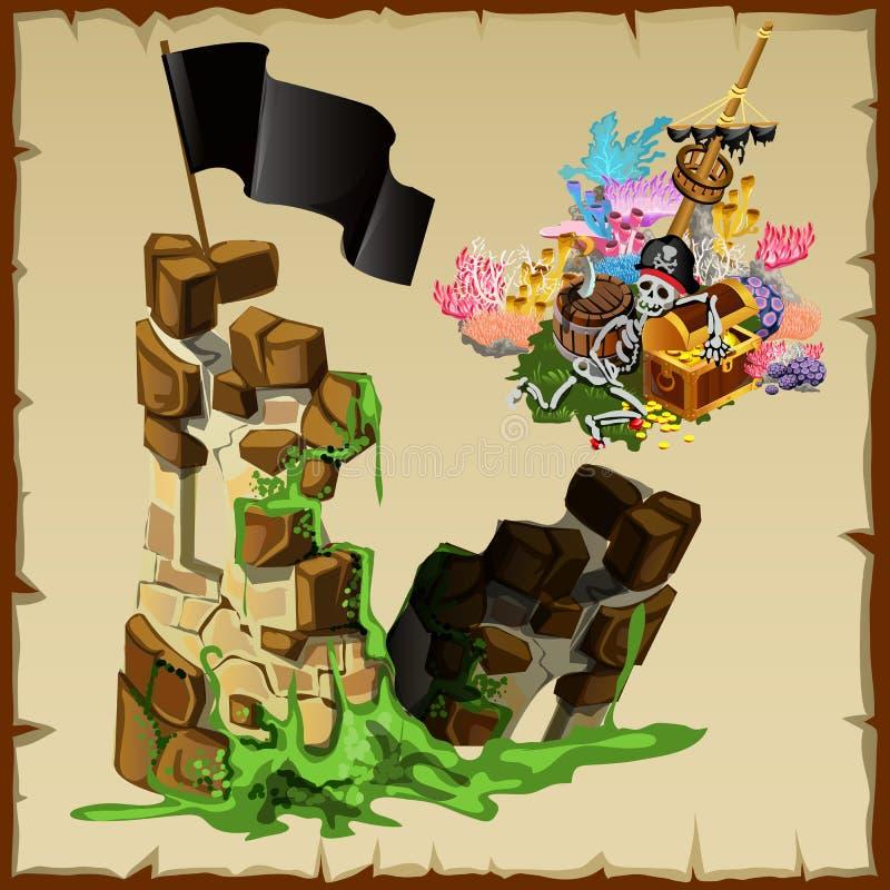 Ruinas de la fortaleza de piratas y del tesoro abandonado stock de ilustración
