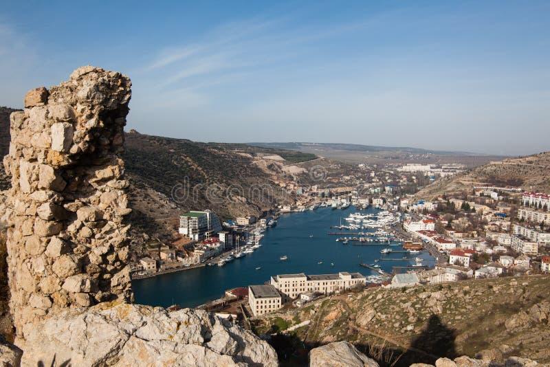 Ruinas de la fortaleza Genoese del arpicordio Balaklava, Crimea fotos de archivo