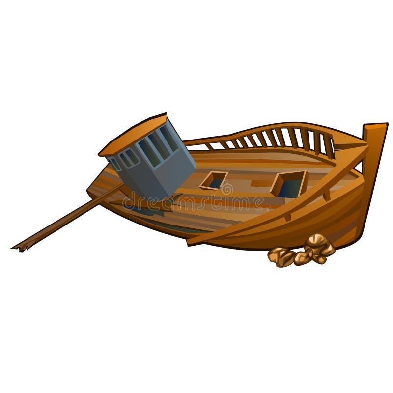 Ruinas de la nave en el fondo del mar aislado en el fondo blanco Ejemplo del primer de la historieta del vector stock de ilustración