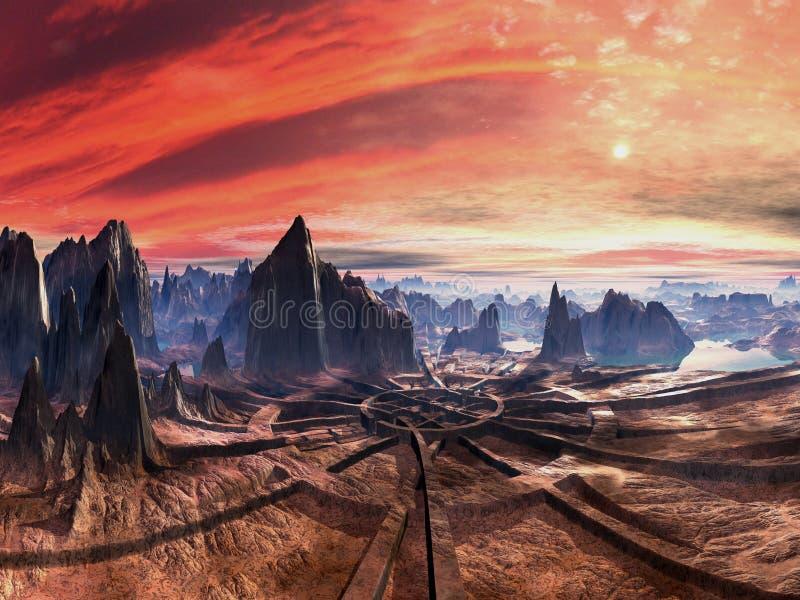 Ruinas de la plataforma de aterrizaje extranjera en la puesta del sol stock de ilustración