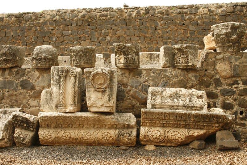 Ruinas de la sinagoga de Capernaum Jesús, Israel fotografía de archivo libre de regalías