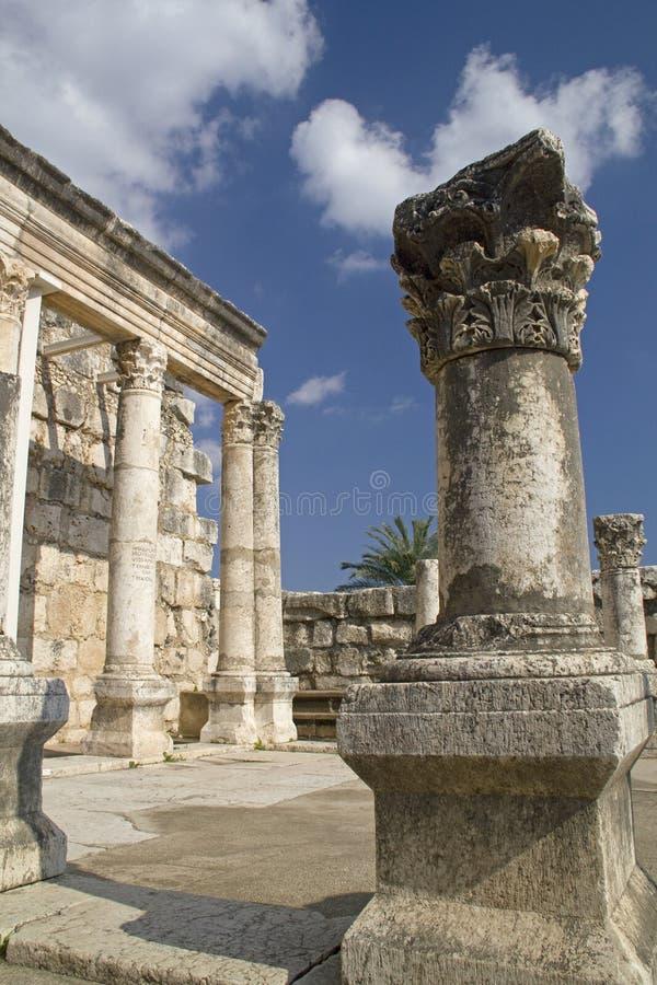 Ruinas de la sinagoga de Jesús en Capernaum, Israel foto de archivo