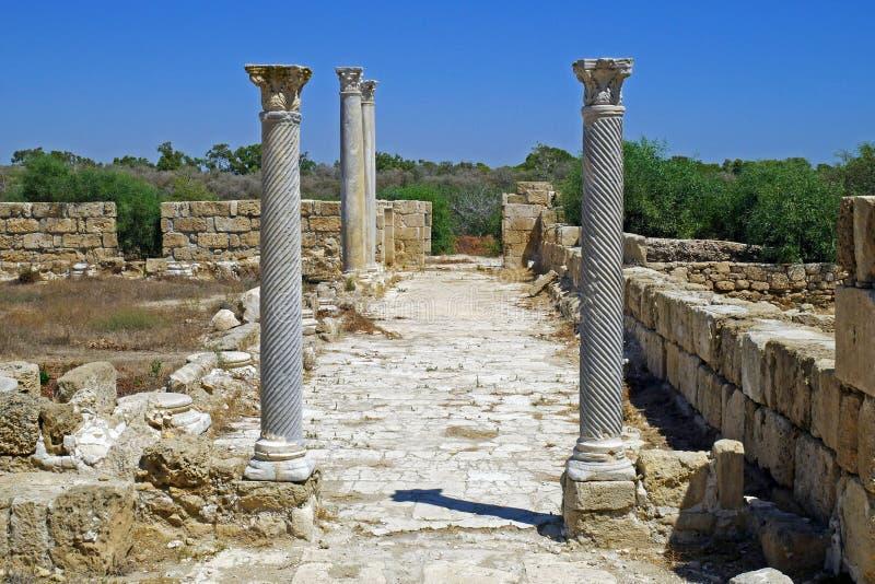 Ruinas de los romanos de la ciudad de salamis, cerca de Famagusta, Chipre septentrional fotos de archivo libres de regalías