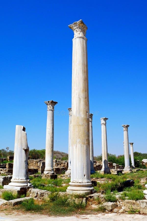 Ruinas de los romanos de la ciudad de salamis, cerca de Famagusta, Chipre septentrional fotos de archivo