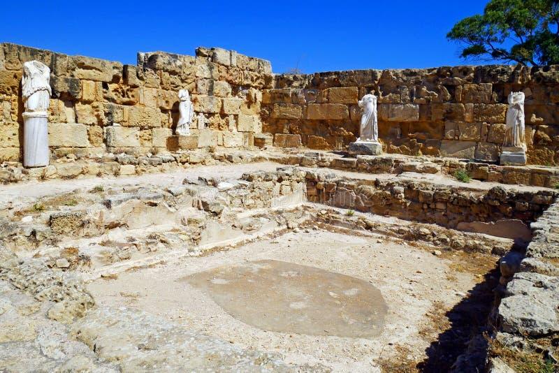 Ruinas de los romanos de la ciudad de salamis, cerca de Famagusta, Chipre septentrional foto de archivo