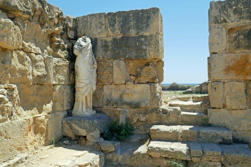 Ruinas de los romanos de la ciudad de salamis, cerca de Famagusta, Chipre septentrional imagenes de archivo