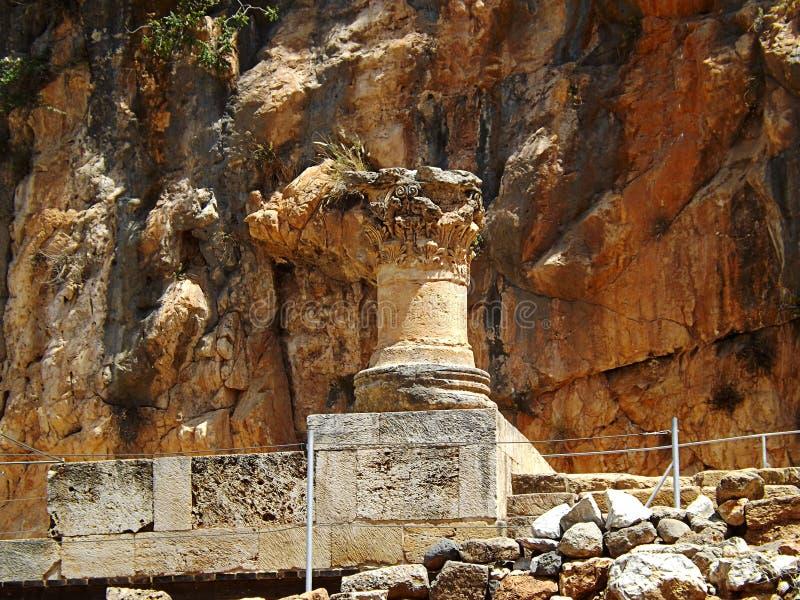 Ruinas de los templos de Banias, el santuario de la cacerola en Israel fotografía de archivo libre de regalías
