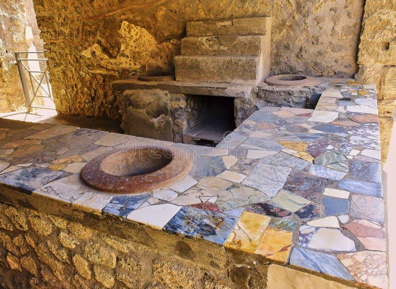 Ruinas de Pompeya, ciudad romana antigua Pompeya, Campania Italia fotografía de archivo libre de regalías
