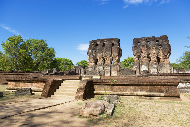 Ruinas de Royal Palace, Polonnaruwa, Sri Lanka fotos de archivo
