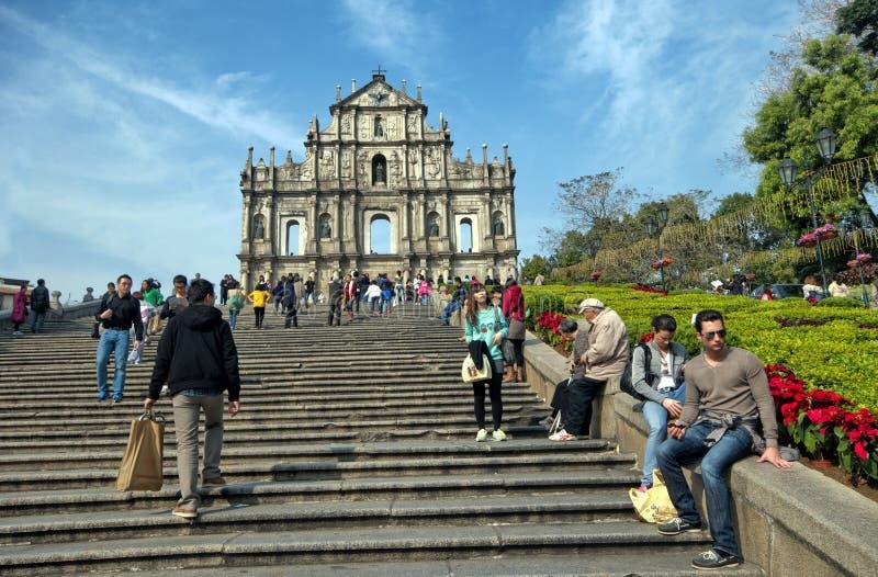 Ruinas de San Pablo en Macau fotografía de archivo