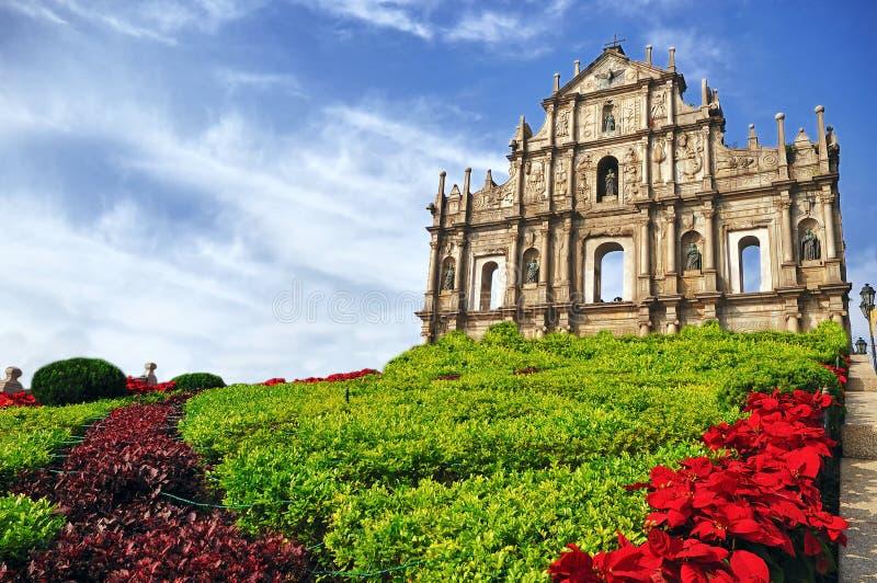 Ruinas de San Pablo en Macau fotos de archivo