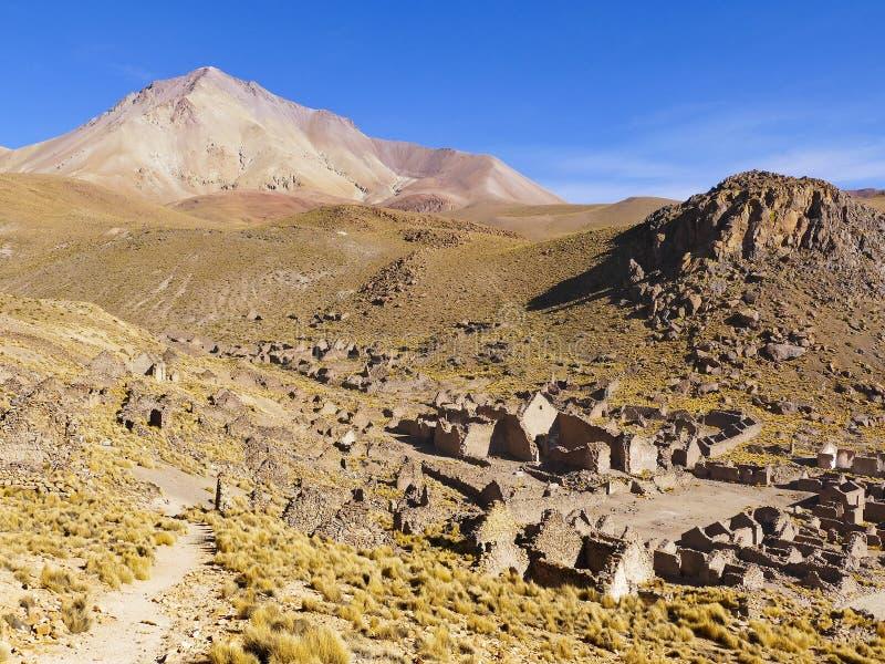 Ruinas de un pueblo minero anterior Fantasma de la ciudad imagen de archivo libre de regalías