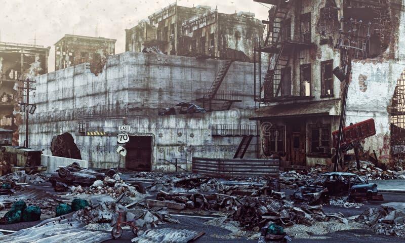 Ruinas de una ciudad ilustración del vector