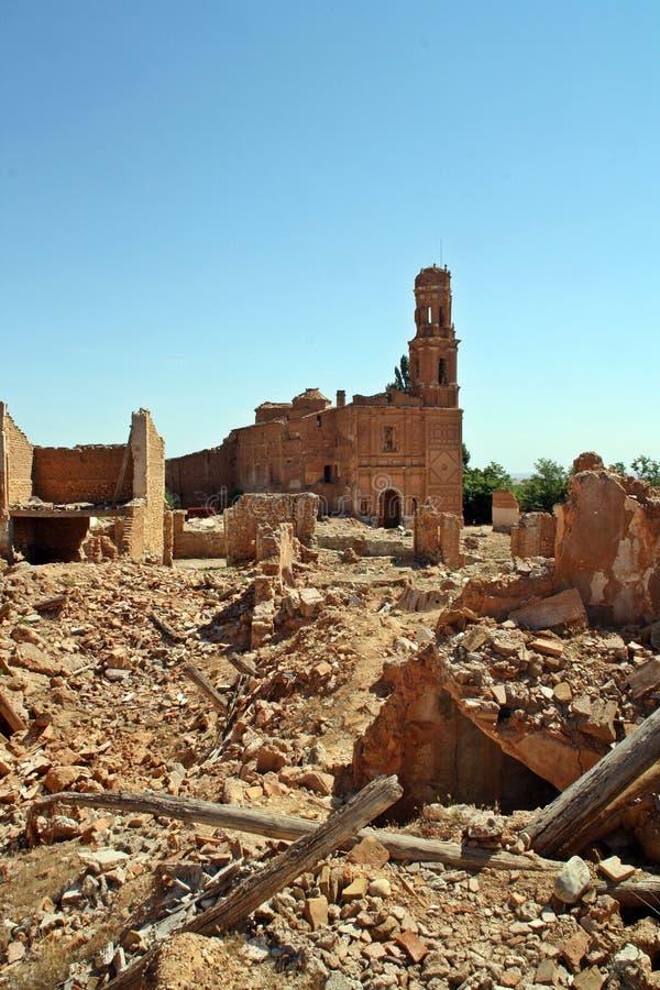Ruinas de una ciudad bombardeada en la guerra civil española, batalla de Belchite España fotografía de archivo libre de regalías