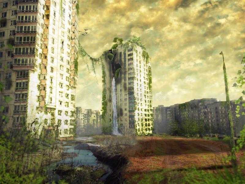 Ruinas de una ciudad Paisaje apocalíptico ilustración del vector