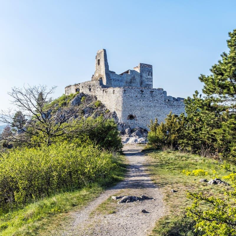 Ruinas del castillo de Cachtice, Eslovaquia imagen de archivo