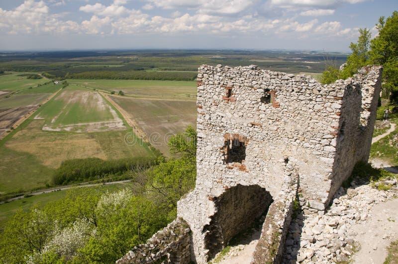 Ruinas del castillo del hrad de Plaveck? imagenes de archivo
