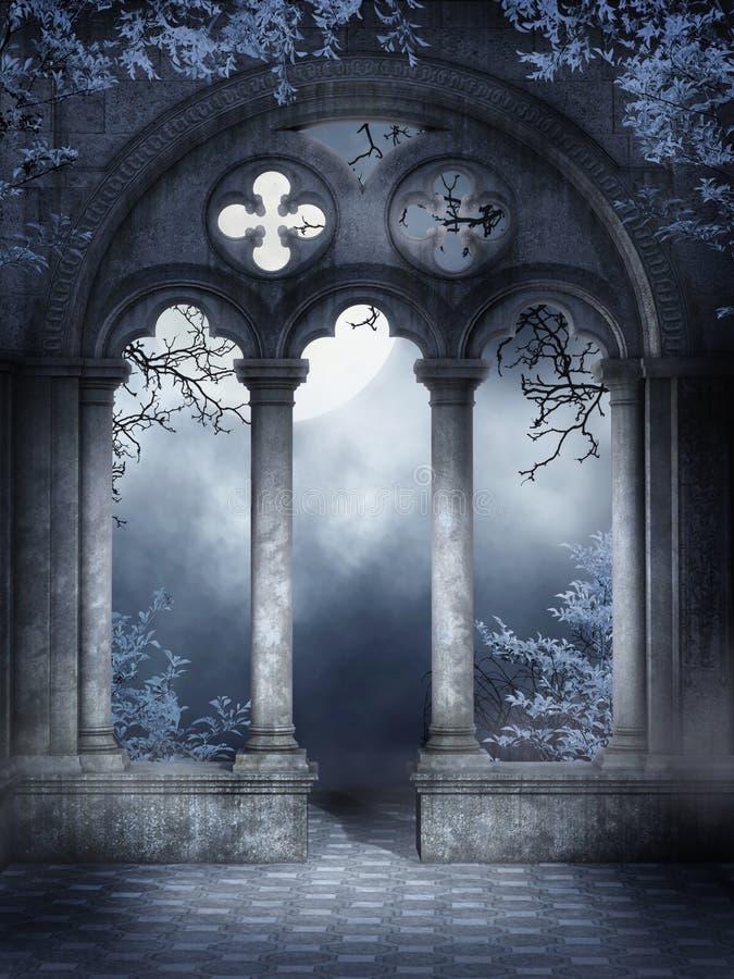 Ruinas del claustro con las vides ilustración del vector