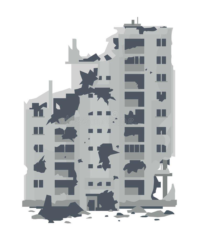 Ruinas del edificio residencial destruido stock de ilustración