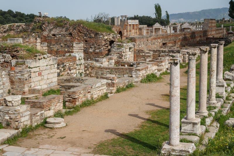 Ruinas del griego clásico y de la ciudad romana de Sardis fotos de archivo