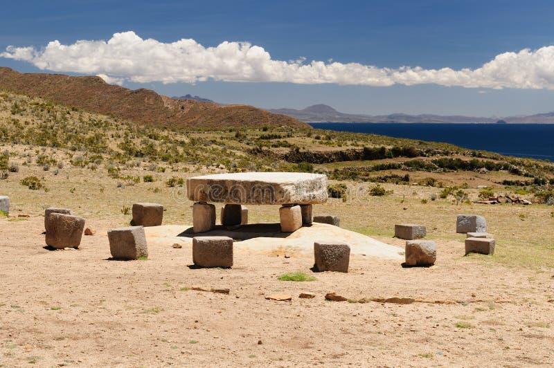 Ruinas del inca, Isla del Sol, lago Titicaca, Bolivia fotos de archivo