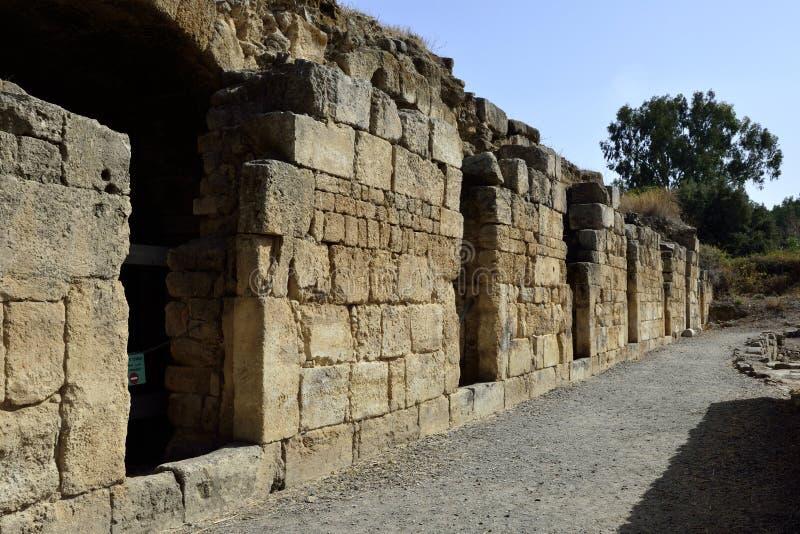 Ruinas del palacio de Agrippa, Israel imagenes de archivo