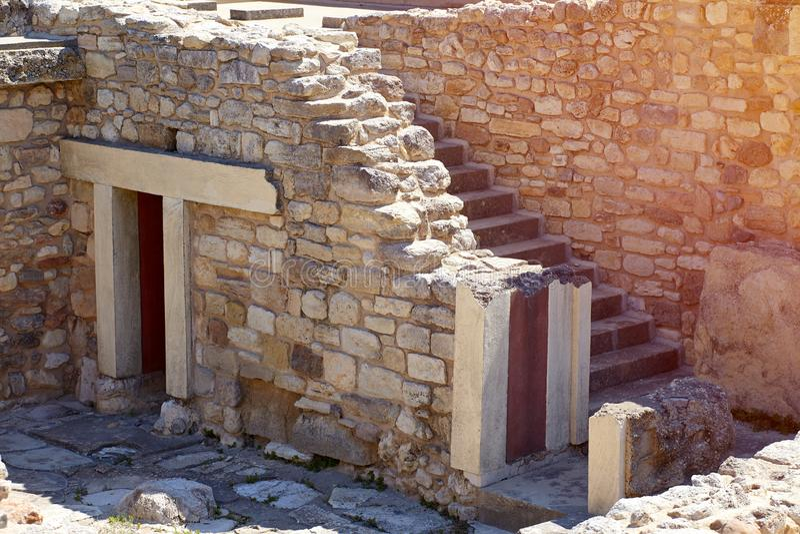 Ruinas del palacio de Knossos Atracci?n arqueol?gica famosa La ciudad principal de Creta antiguo, centro del Minoan foto de archivo libre de regalías