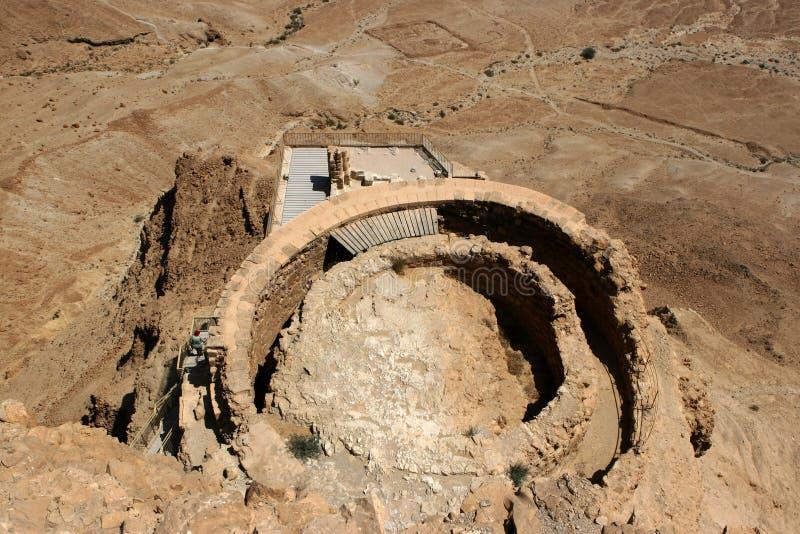 Ruinas del palacio en Masada, Israel de Herod foto de archivo libre de regalías