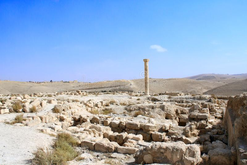 Ruinas del palacio fortificado Machaeros, Jordania de rey Herod imagenes de archivo