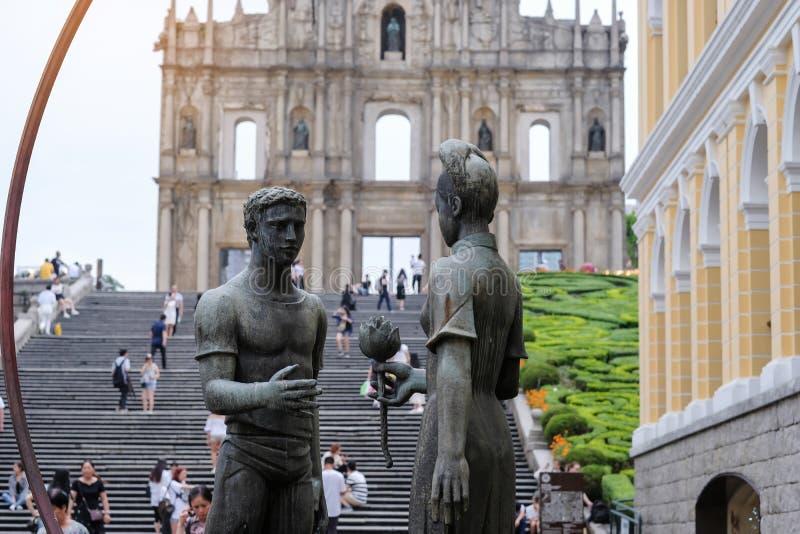 Ruinas del ` s, centro hist?rico de San Pablo de Macao, un sitio del patrimonio mundial de la UNESCO se?al y popular para las atr imágenes de archivo libres de regalías