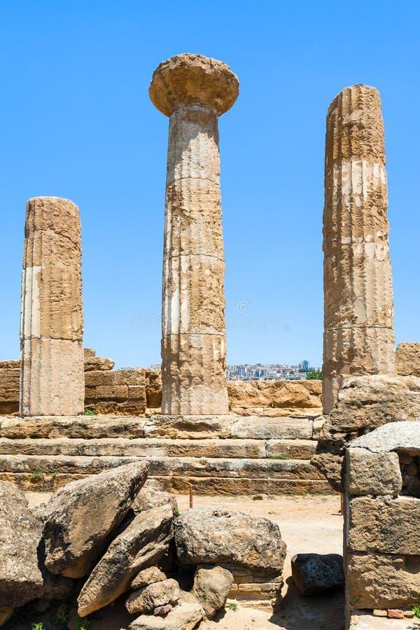 Ruinas del templo antiguo de Heracles en Agrigento imagen de archivo libre de regalías