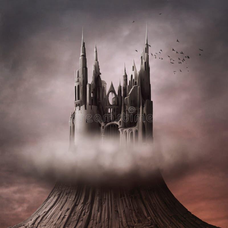 Ruinas en la colina ilustración del vector