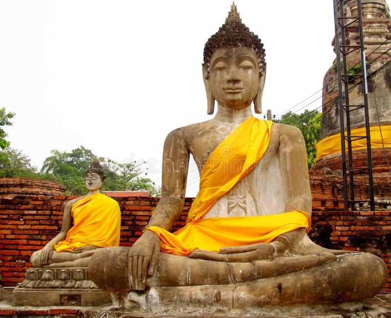 Ruinas en Tailandia, estatuas de la ciudad antigua de Ayutthaya de Buda imágenes de archivo libres de regalías
