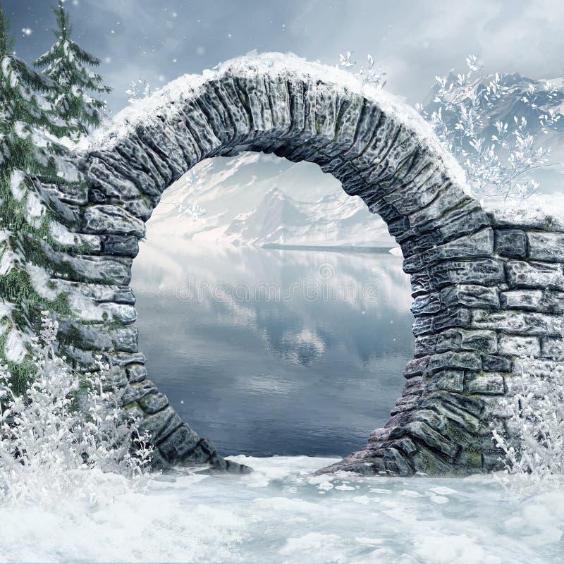 Ruinas en un paisaje nevoso ilustración del vector