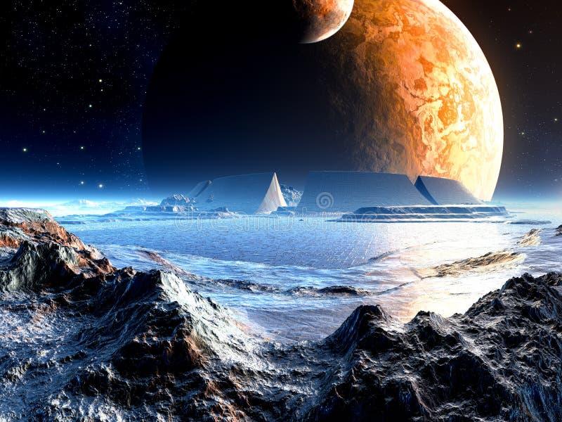Ruinas extranjeras de la arena bajo dos lunas ilustración del vector