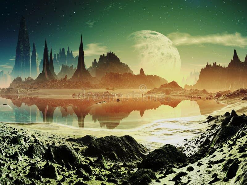 Ruinas extranjeras de la ciudad al lado del lago libre illustration
